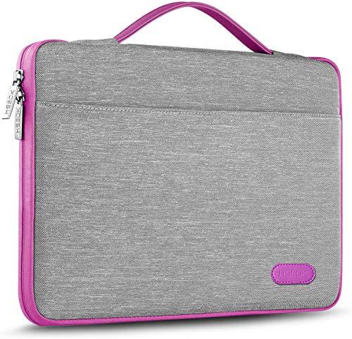 HSEOK 15 15,6 16 Pollici Borsa Portatile Custodia Protettiva Super Sottile Impermeabile Ventiquattrore per MacBook 15' 16' e 15'-16' dell Lenovo HP ASUS Acer Sony Yoga, Grigio&Bordo Viola