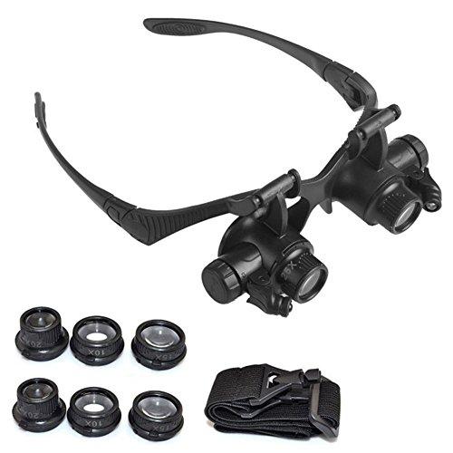 Yiwa 10X 15X 20X 25X Lente d'Ingrandimento Set con Archetto e Lente LED Magnifier per orologeria