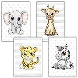Frechdax - Juego de 4 pósteres decorativos para habitación infantil, tamaño DIN A4, diseño de animales del bosque, África, Juego de 4 elefantes, jirafa, jaguar, cebra., DIN A4