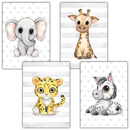 Frechdax® Kinderzimmer Deko 4er Set Poster Baby Wandbilder DIN A4 | Waldtiere Safari Afrika Tiere Tierposter (4er Set Elefant, Giraffe, Jaguar, Zebra)