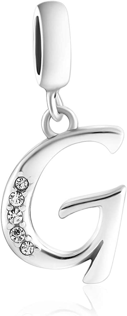 SPARKL Alphabet 925 Sterling Silver Initial Charm wit Special Campaign Year-end annual account Letter A-Z