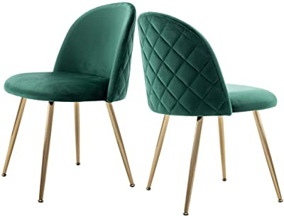 Modern Velvet Dining Chairs, Tufted Accent Upholstered Chairs with Gold Plating Metal Legs for Living Room/Kitchen/Vanity/Patio, Set of 2 (Teal Green)