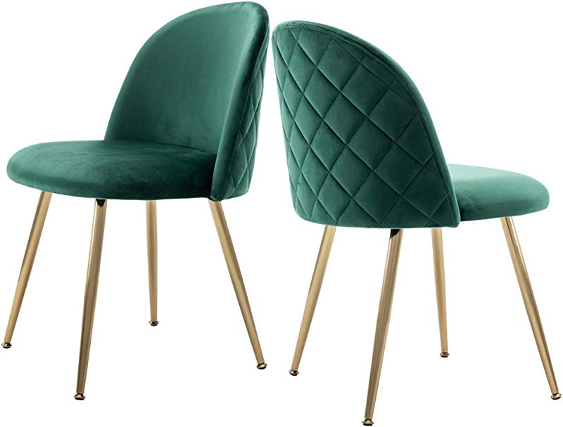 Modern Velvet Guest Chairs Tufted Accent Upholstered Chairs With Gold Plating Metal Legs For Living Room Kitchen Vanity Patio Set Of 2 Emerald Green