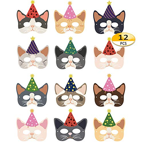 Cat Masks - 12pcs Halloween Masks Kitten Masks Party Favors for Kids Dress Up Costume Masks Best Gift for Children