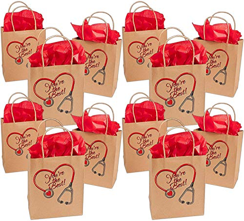 Large Nurse Kraft Paper Gift Bags (12 Pack) You're The Best Nurse Kraft Gift Bags for Doctors Paramedics Nurses Party Favors Goody Bag Fillers and Prizes, by 4E's Novelty