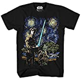 STAR WARS Starry Night Luke Skywalker Yoda X-Wing Van Gogh Adult Men's Graphic Tee Apparel T-Shirt Black (X-Large)