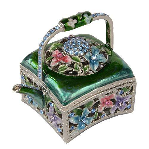 WMYATING El joyero Tiene una Forma novedosa y única, un DIS Caja de joyería Floral Flor Pot Tinket Jewelriny Box esmaltado Pendiente Dorado Collar Contenedor Regalo para Ella