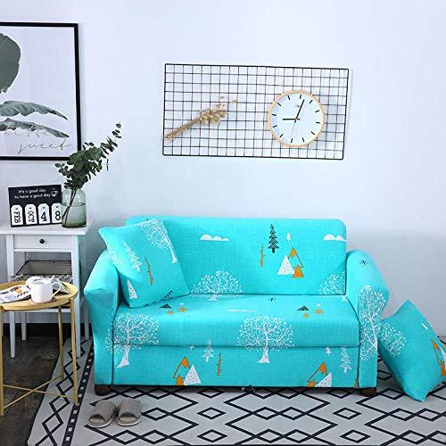 Funda de sofá Antideslizante de Poliéster Spandex Arbol Azul Estampado,Funda elástica Antideslizante Protector Cubierta de Muebles para sofá de 4 plazas(1 Funda de Cojines)