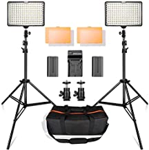 LED Video Light Kit with 2M Light Stand, SAMTIAN 2-Pack Dimmable 3200K 5500K 160 LED Photo Light Panel Lighting Kit with Large Carry Case Charger Batteries for YouTube Studio Photography Shooting