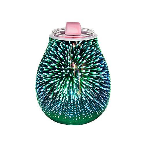 Viitech Elektrische Duftlampe aus Glas, 3D-Feuerwerk, Aromalampe, Ölwärmer, romantische Atmosphäre für Dekoration und Schlafzimmer und Zuhause – buntes Feuerwerk