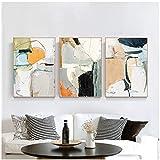 juou Hedendaagse kunst veelkleurige abstracte vorm canvas poster muurkunst druk modern schilderij Scandinavische interieur foto 60x80cm 3st frameloos
