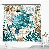 JUNMAONO Meerestiere Schildkröte Krake Wal Seepferdchen Duschvorhang Textil Wasserabweisend Shower Curtain mit 12 Duschvorhangringen,Waschbar Badvorhänge Badezimmer Dekoratives (180 * 200cm, D3)