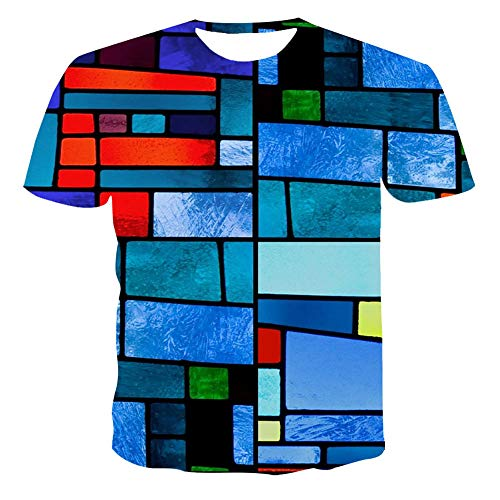 Unisex T Shirt 3d Digital Printing Couple Outfit Tops Round Neck Casual Short Sleeve,06,M
