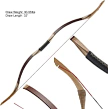 Huntingdoor 51inch Recurve Bow Traditional Archery Longbow 30-55LBS Handmade Mongolian Horsebow Left Hand Right Hand Brown with Bowstring