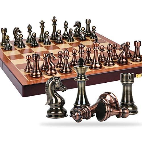 BJH Juego de ajedrez Juego de ajedrez Estilo Retro Chapado en Metal Cobre Boutique Pieza de ajedrez Caja de Bandera Plegable Fácil de almacenar para niños Juego de Mesa para Adultos Juego de Mes