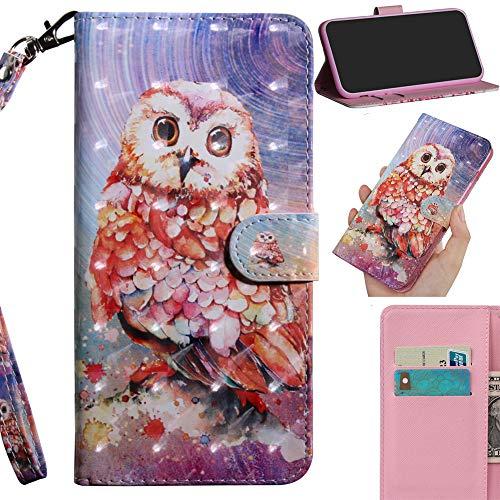 DodoBuy 3D Hülle für Samsung Galaxy S10 Lite/A91, Flip PU Leder Schutzhülle Handy Tasche Brieftasche Wallet Hülle Cover Ständer mit Kartenfächer Trageschlaufe Magnetverschluss - Eule
