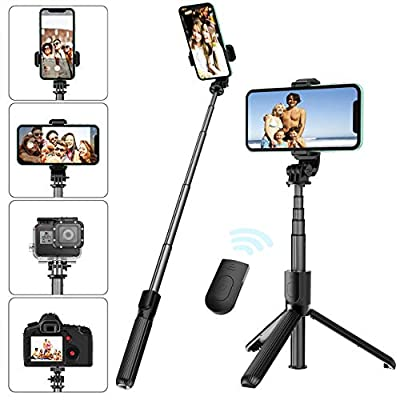 Selfie Stick Tripod with Removable Wireless Bluetooth Remote Shutter Compatible,Lightweight Extendable Aluminum Pocket Selfie Stick for iPhone 11/XR/X/8/8P/7/7P Android Phone?Gopro,Webcam and Camera from Allllllon