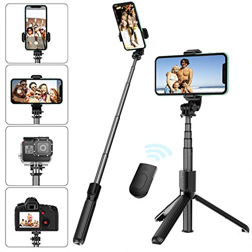 Selfie Stick Tripod with Removable Wireless Bluetooth Remote Shutter Compatible,Lightweight Extendable Aluminum Pocket Selfie Stick for iPhone 11/XR/X/8/8P/7/7P Android Phone,Gopro,Webcam and Camera