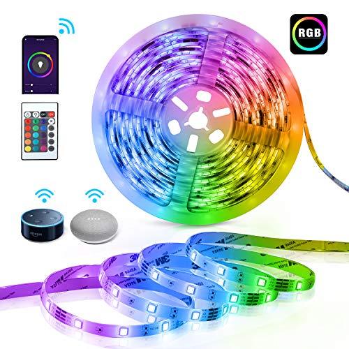 TECKIN Smart LED Lights Strip,16.4ft SMD 5050 Strip Lights with Remote Control,Flexible Color