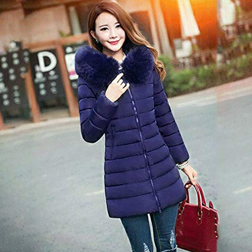 Plus-size middellange katoenen bovenkleding Winterjassen Dames met grote bontkraag