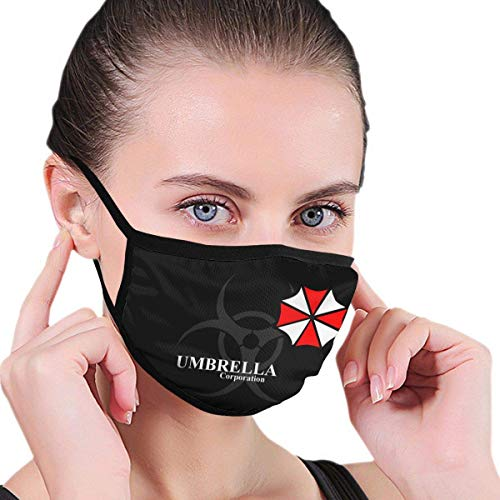 Jopath Umbrella Resident Evil Mouth Cover for Dust Protection Anti Face Washable Earloop for Women Black