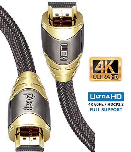 4K HDMI Kabel 2M HDMI 2.0b Kabel 4K@60Hz HighSpeed 18Gbps Nylon Geflecht Vergoldete Anschlüsse mit Ethernet/Audio Rückkanal,Kompatibel mit Video 4K UHD 2160p,HD 1080p,3D Xbox PS4-IBRA Luxury