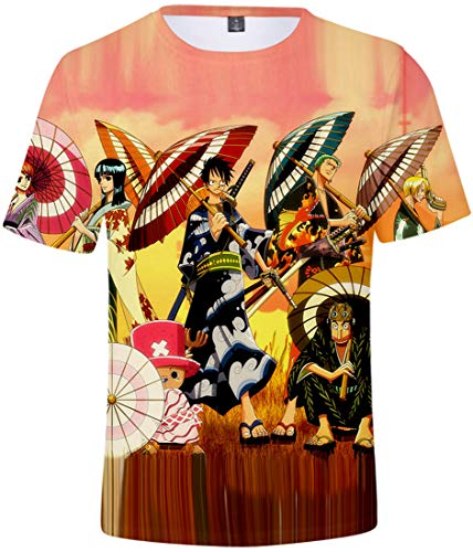 bettydom Men's Fashion Tees with Japanese Anime One Piece Luffy Chopper Zoro 3D Printed t-Shirt(M,Color Umbrellas-2)