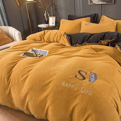 juego de ropa de cama 135x190,Sábanas gruesas de vellón de coral Funda nórdica de doble cara más vellón Ropa de cama de franela Gamuza de invierno Ropa de cama de Navidad-H_Colcha de 1,8 m (4 piezas)