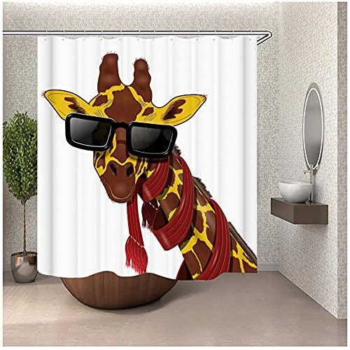 MZYZSL Cortina de Ducha de Jirafa con Gafas de Sol con Ganchos, Tela de poliéster Resistente al Agua y Duradera, Cortinas de baño de Jirafa para baño-180x180cm