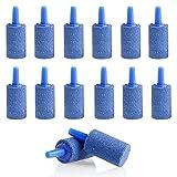 Qianchilang 50 Piezas Piedras Porosas para Peces de Acuario Difusor de Oxígeno para Pecera Piedras Difusor de Aire, Mini Piedra de Oxígeno Mineral de Cuarzo Cilíndrico, para Acuarios Domésticos-Azul