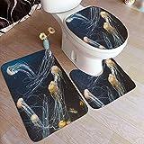 Juego de alfombras de baño de 3 piezas,Medusas en el acuario de aguas profundas La vida de l,Alfombrilla de inodoro con contorno en forma de U,lavable a máquina,antideslizante,para bañera,ducha,baño