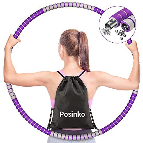 Hula Hoop Reifen Erwachsene, Fitness Hula Hoop Reifen zur Abnehmen und Massage Hullahub mit Stabiler Edelstahlkern, Premium Schaumstoff, Gewichten Einstellbar(von 1,2 bis 3,2kg),8 Segmente Abnehmbarer