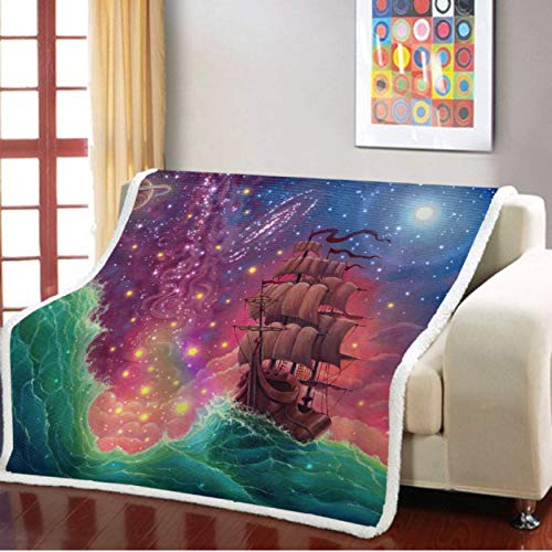 Manta de felpa sherpa con diseño de bosque de montaña de dibujos animados para sofá al aire libre, colcha fina para decoración de dormitorio, manta cálida de 150 x 200 cm
