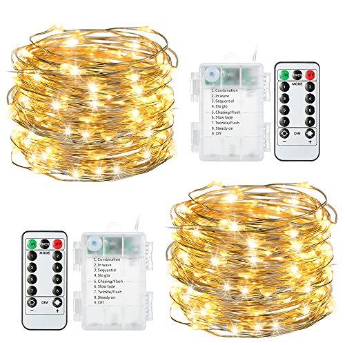 100 LEDs Lichterkette Batterie, Tomshine 2x10M Warmweiß Kupferdraht Lichterkette Außen Wasserdicht 8 Modi Stimmungsvolle Beleuchtung mit Fernbedienung Timer für Party, Hochzeit [Energieklasse A++]