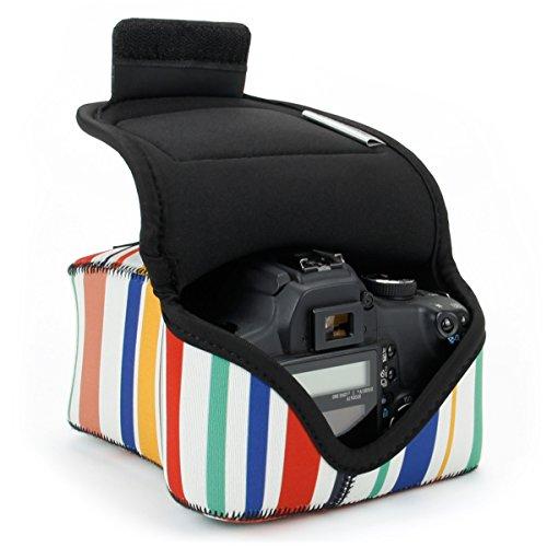 Kameratasche für Spiegelreflexkameras von USA Gear: Kamera-Schutzhülle aus Neopren für DSLR/SLR, gestreiftes Muster & Zubehörtasche, ideal für Canon EOS 1300D/200D, Nikon D3400 & mehr