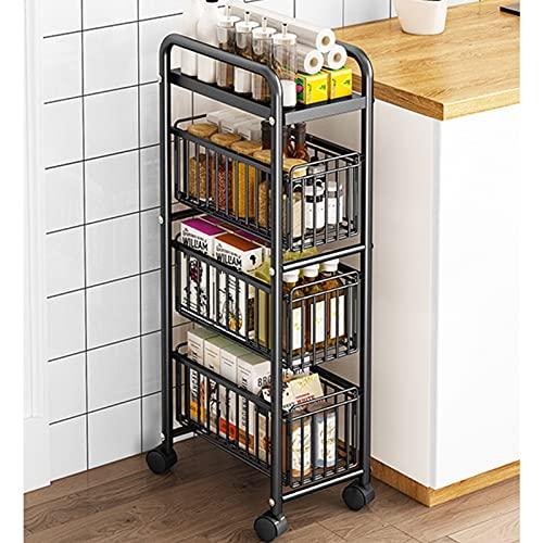 Metal 4 pisos carrito de cocina,estante de la cocina,estante de baño estrecho,almacenamiento deslizante delgado,organizador para el baño de la cocina de la oficina (negro, ancho25)