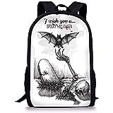 Hui-Shop Zaini scolastici Decorazioni di Halloween, Dead Skull Zombie out Grave e Flying Bat Immagine Disegnata a Mano spettrale, Bianco Nero