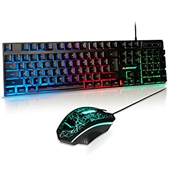 Upgrade Version  FLAGPOWER LED Backlit Wired Gaming Keyboard and Mouse Combo Mechanical Feeling Rainbow LED Backlight Keyboard with 3200DPI Adjustable USB Mice for PC/laptop/MAC/win7/win8/win10