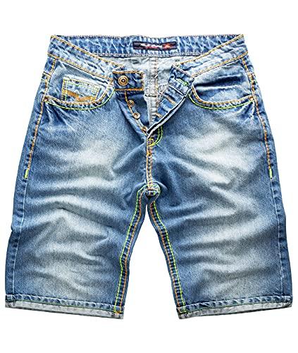 Rock Creek Herren Shorts Jeansshorts Denim Short Kurze Hose Herrenshorts Jeans Sommer Hose Dicke Nähte Bermuda Hose RC-2078 Blau W31