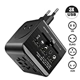 International Power Adapter Universal Travel Adapter LEGIRAL All in One Worldwide Wall Charger AC Power Plug Adapter with 3 USB Ports for USA EU UK AUS Cover 160+Countries Cell Phone Laptop