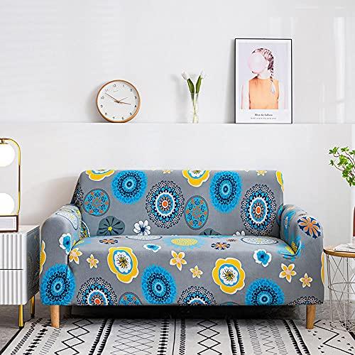 Fundas de sofá Estampadas Elástica,Flor Amarilla Azul 4 Plazas Antideslizante Ajustables Funda de Sofá,Universal Poliéster Protector Cubierta de Muebles,+2 Funda de Cojín