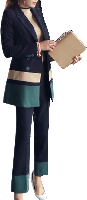 FXLM Women Button Classics Patched OL Lapel Blazer Jacket Long Pants
