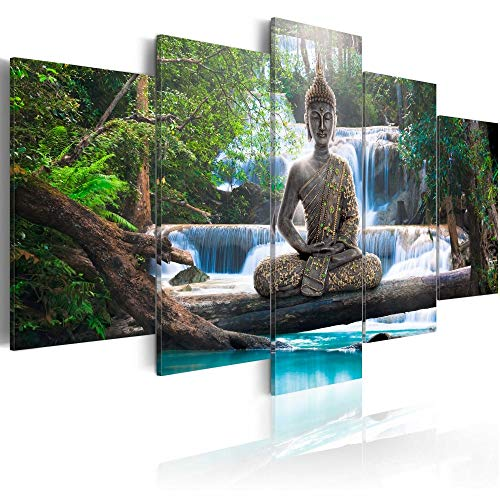Canvas Print Design Wall Art Painting Decor Zen Decorations for Home Buddha Landscape Artwork Pictures Bedroom (Green, Overall 40''W x 20''H)