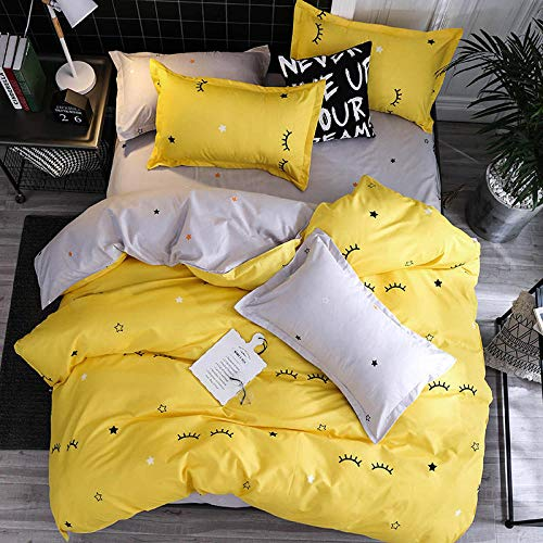 Rhmvvseso Bedding Set 3 Pieces Duvet Cover Set with 3D Printings 1 Duvet Cover 2 Pillowcases for Kids and Teens(Simple yellow eyelashes - ) 260 x 220 cm Boy duvet cover