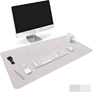 HOMECAS Desk Pad,Office Desk Mat Blotter,Upgraded PU Leather Desk Protector Cover Large Mouse Pad, Waterproof Writing Mat for Office/Home/Computer,Dual Use (Gray & Silver, 35