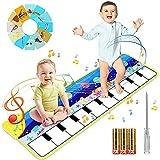 joylink Alfombra de Piano, Alfombra Musical Teclado Alfombra de Baile con 8 Instrumentos y 15 Tarjetas, Alfombra Musical de Teclado Educativo Juguete Regalo para Bebé Niño Niña 110 x 36 cm (Azul)
