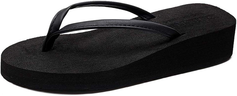 Btrada Women Fashion Casual Flip Flops Wedges Platform Slippers Beach Thick Heel Slides Summer Sandals
