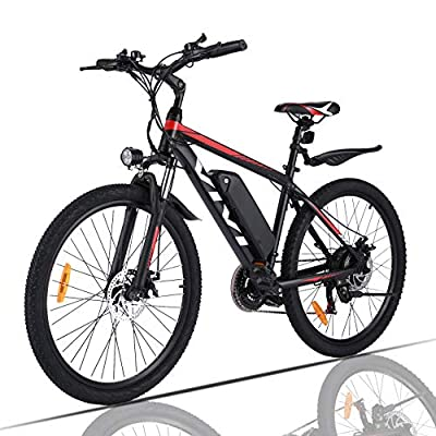 VIVI Electric Bike, 26 Inch Electric Bikes for Adults Mountain Bike with 350W Motor, 36V/10.4Ah Removable Battery, 21 Speed Gears,20MPH Speed