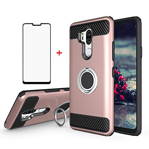 Phone Case for LG G7 ThinQ with Tempered Glass Screen Protector Cover Magnetic Ring Holder Hard Stand Kickstand Cell Accessories LGG7 One G 7 Plus LG7 Fit LG7ThinQ 7G Thin Q G7+ G7thinq Women Girls