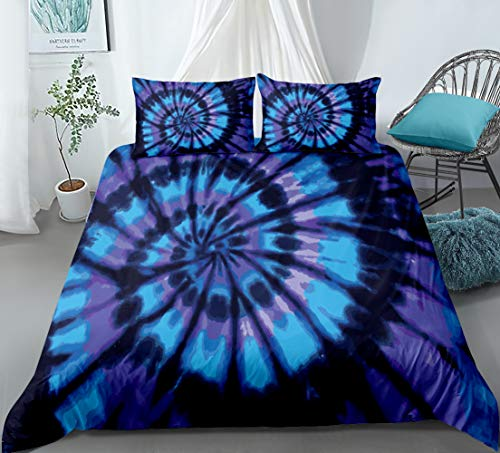 Spiral Tie Dye Duvet Cover Set Blue Purple Tie Dye Printed Hippie Bedding Set Queen Size with 1 Duvet Cover 2 Pillowcases (Blue Purple, Queen)